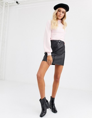 JDY faux leather mini skirt with zip detail in black