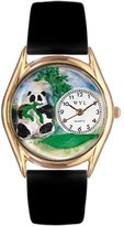 Whimsical Watches Kids' C0150001 Classic Gold Panda Bear Black Leather And Goldtone Watch
