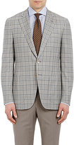 Isaia MEN'S PLAID GREGORY SPORTCOAT-TAN SIZE 44 L
