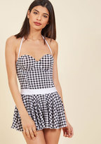 Bettie Page Swoon by the Sea Swim Dress in Black Gingham in 6