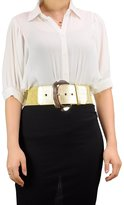 "NYfashion101 Fabulous Trendy Women's 3"" Wide Thick Stretch Belt With Large Metal Buckle 11 Colors EF21 (L/XL, )"