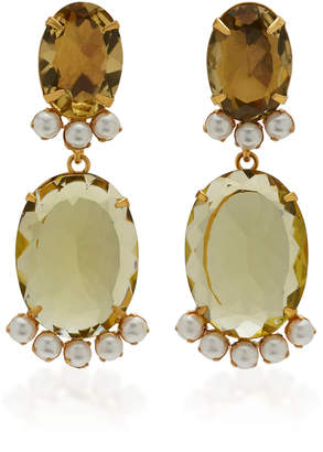 Bounkit Earrings Set with Lemon Quartz 18X13 and 26X19 and Pearls