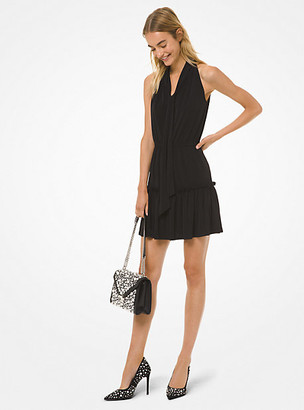 Michael Kors Matte Jersey Tie-Neck Flounce Dress