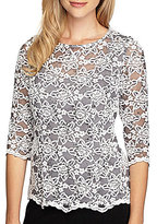 Alex Evenings Petite 3/4-Sleeve Lace Blouse