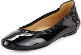 Neiman Marcus Seyna Scalloped Patent Leather Flat, Black