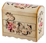 Handcrafted Wood Mini Chest of Drawers Jew, 'Rose Bouquet'