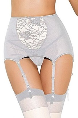 Other HIGH Waist Suspender Belt Garter Sexy Large White LACE Sizes 10-26 Valentine with Thong with Stockings (10-14)