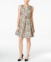Nine West Metallic Jacquard Fit & Flare Dress