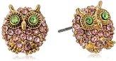Betsey Johnson Marie Antoinette Pave Owl Stud Earrings