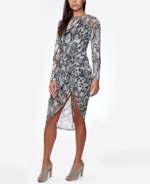 Bebe Juniors' Side-Ruched Snake-Print Dress