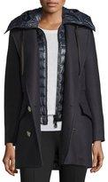 Moncler Galatea Wool Pea Coat w/Puffer Vest, Navy