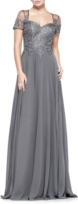 Marsoni By Colors Soutache Embroidered Chiffon Gown