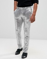 Asos Skinny Smart Pants In All Over Sequin Silver