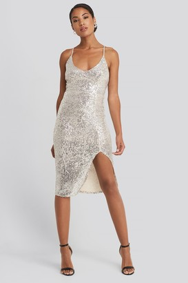 Trendyol Thin Strap Back Detailed Sequin Midi Dress Silver