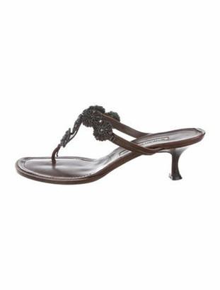Manolo Blahnik Embellished Mid-Heel Sandals Brown