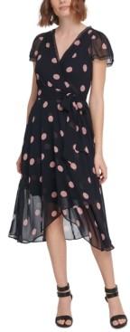 DKNY Lace-Trim Faux-Wrap Midi Dress