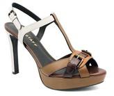 "Belstaff Buckingham"" Multi-Color Brown Leather T-Strap High Heel Sandal"