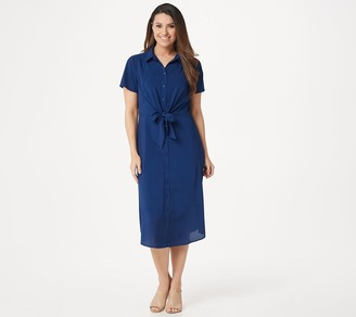 Du Jour Button Front Shirt Midi Dress with Tie Detail