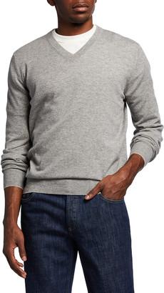 Brunello Cucinelli Men's 2-Ply Cashmere V-Neck Sweater