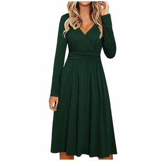 Your New Look Women's Casual Loose Fit Long Sleeve Wrap Dress Plain Color V Neck High Waisted Flare Dress Midi Dress for Work Vacation Green