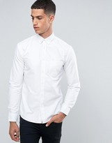 Celio Long Sleeve Slim Fit Oxford Shirt with Tonal Elbow Detail
