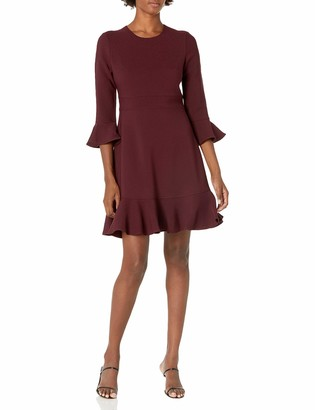 Eliza J Women's Petite Bell Sleeve FIT and Flare Dress with Flounce Hem
