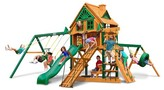 Gorilla Playsets Frontier Treehouse Swing Set with Fort Add-On & Timber Shield