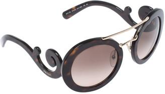 Prada Brown Havana/ Brown Gradient SPR 13S Baroque Round Sunglasses
