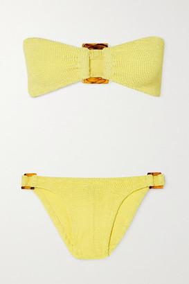 Hunza G Net Sustain Gloria Embellished Seersucker Bandeau Bikini - Yellow