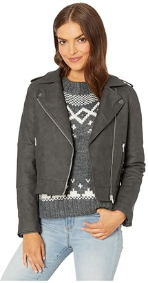 Cupcakes And Cashmere Francie Faux Leather Moto Jacket (Charcoal) Women's Clothing