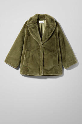 Weekday Tabitha Faux Fur Jacket - Green