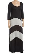 Celeste Black & Heather Gray Stripe Maxi Dress - Plus