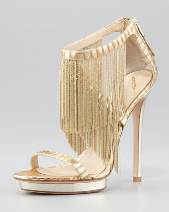 Brian Atwood Metal Fringe Back-Zip Sandal, Gold
