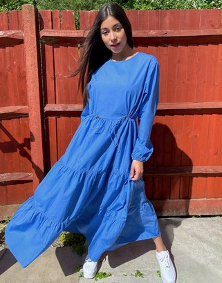 Monki Florentina organic cotton poplin trapeze maxi dress with draw cord in blue