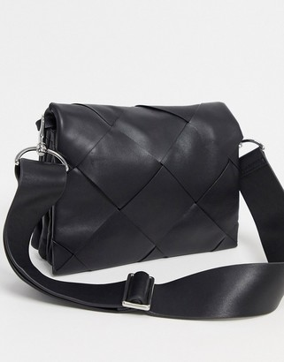 And other stories & leather large braided bag in black