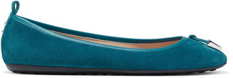 Tod's Leather-trimmed Knotted Suede Ballet Flats