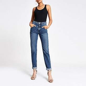 River Island Dark blue Mom rolled hem denim jeans