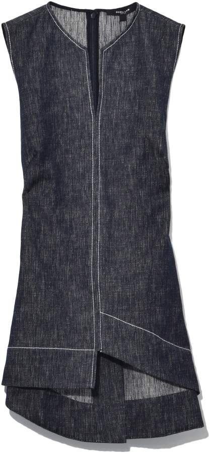 Derek Lam Asymmetrical Sleeveless V-Neck Top in Indigo