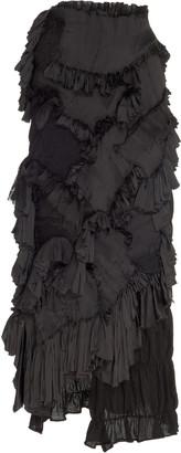Caroline Hu Smocked Ruffle-Embellished Silk-Blend Maxi Skirt