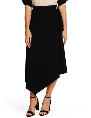 Vince Camuto Women's Casual Skirts RICH - Rich Black Textured Twill Asymmetrical Maxi Skirt - Women