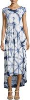 Neiman Marcus Tie-Dye Short-Sleeve Maxi Dress, Blue Motif