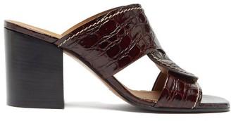 Chloé Candice Block-heel Crocodile-effect Leather Mules - Dark Brown