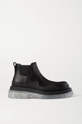 Bottega Veneta Rubber-trimmed Leather Chelsea Boots - Black