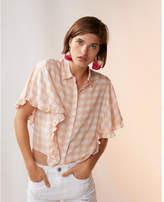 Express gingham ruffle short sleeve top