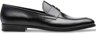 Prada Saffiano and brushed leather moccasins