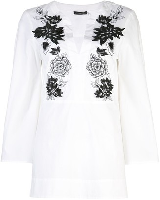 Josie Natori Mandarin tunic top with embroidery