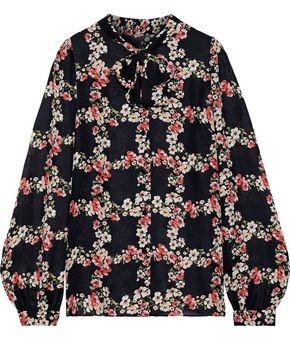 Dolce & Gabbana Pussy-bow Floral-print Silk-chiffon Blouse