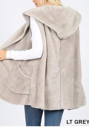 Zenana Hooded Faux Fur Vest