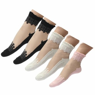 IMAXCITE 2/5 Pairs Women Frilly Lace Flower Ankle Ultra-thin Liner Transparent Short Socks