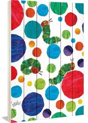 Eric Carle Polka Dot Caterpillars Art Print on White Pine Wood